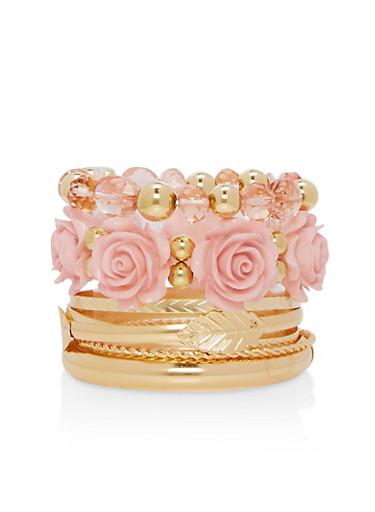Beaded Flower Bracelet Set,ROSE,large
