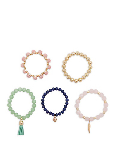 Set of 5 Beaded Stretch Bracelets,BLUSH,large