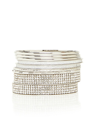Set of Assorted Rhinestone Encrusted Bangles,SILVER,large