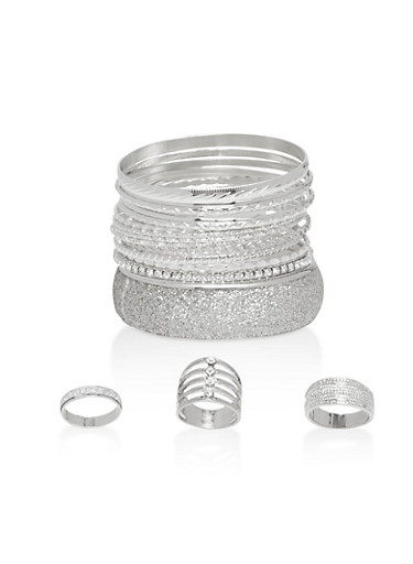 Glitter Cuff Bracelets and Rings,SILVER,large