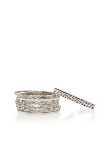 Glitter Crystal Bangle Bracelets,SILVER,large