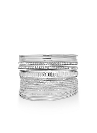 Set of Textured and Rhinestone Encrusted Bangles,SILVER,large