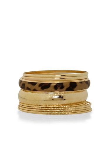 Leopard Print Multi Bangle Set,GOLD,large
