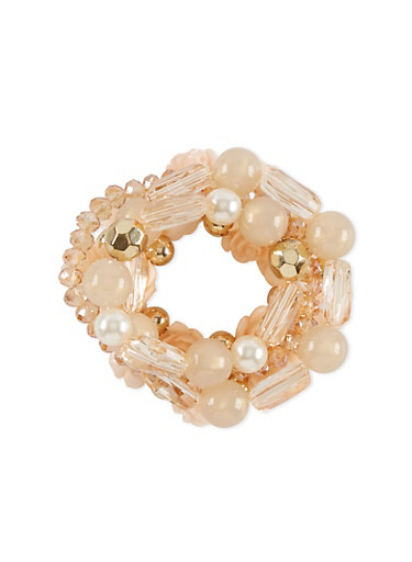5 Assorted Stretchy Beaded Flower Pearl Charm Bracelets,PEACH,large