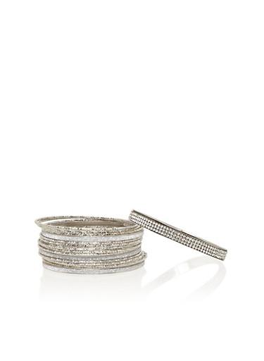 Set of 18 Etched and Glitter Bracelets,SILVER,large