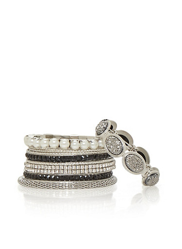 Set of 9 Assorted Textured and Rhinestone Bangles,SILVER,large