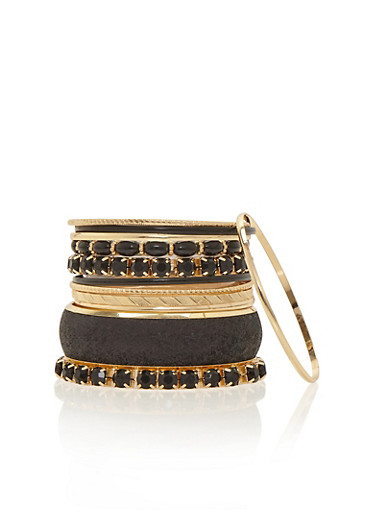 Set of 11 Assorted Chunky and Glitter Bangles,BLACK,large