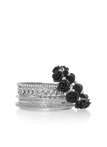 Set of 7 Assorted Curb Chain and Rose Bangles,BLACK,large