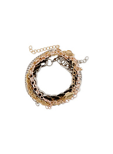 Set of 6 Assorted Chain Bracelets,ROSE,large