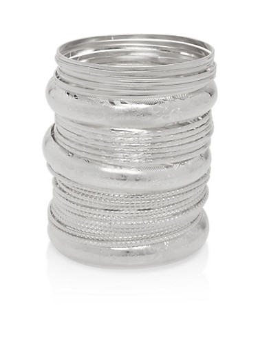 Plus Size Textured Bangles,SILVER,large