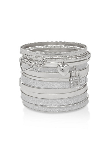 Plus Size Metallic Charm Bangles,SILVER,large