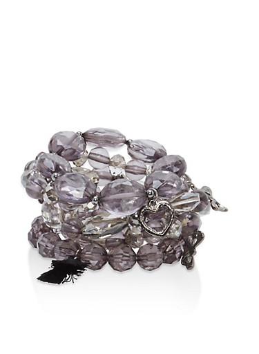 Set of 5 Beaded Stretch Bracelets,HEMATITE,large
