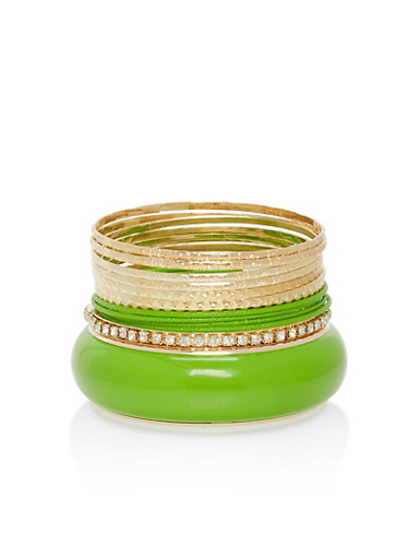 Plus Size Colored Rhinestone Bangles,GREEN,large