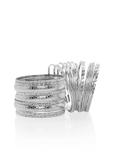Set of 24 Assorted Bangles,SILVER,large