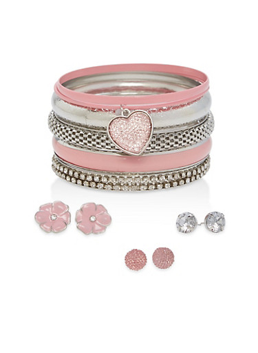 Plus Size Bangles and Stud Earrings Set,SILVER,large