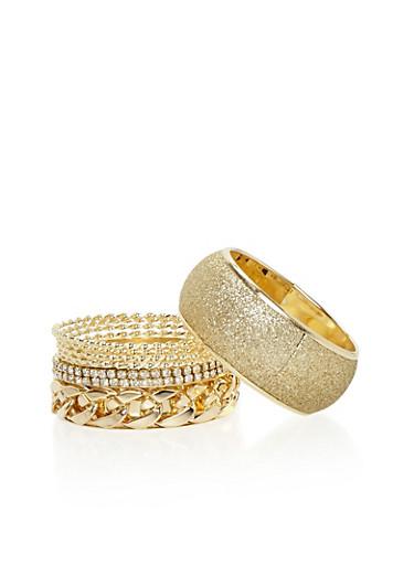Set of 7 Assorted Bracelets,GOLD,large