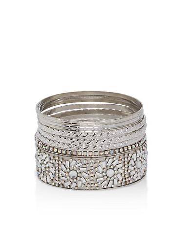 Plus Size Rhinestone Bracelets,SILVER,large