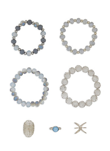 Set of 4 Beaded Stretch Bracelets with Rings,SILVER,large