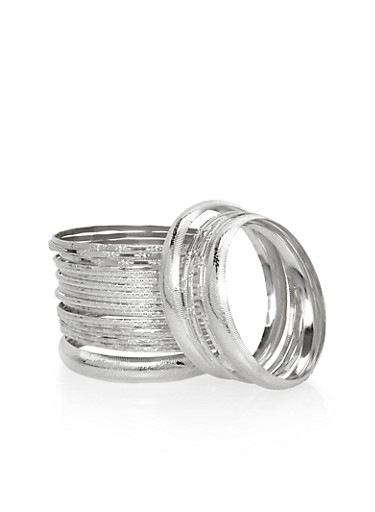 Set of 27 Etched Bangles,SILVER,large