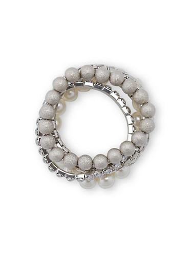 5 Piece Stretch Pearl Rhinestone Bracelets,SILVER,large