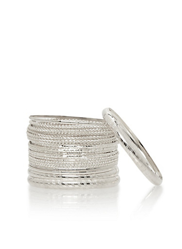 Set of Multi Textured Skinny Bangles,SILVER,large