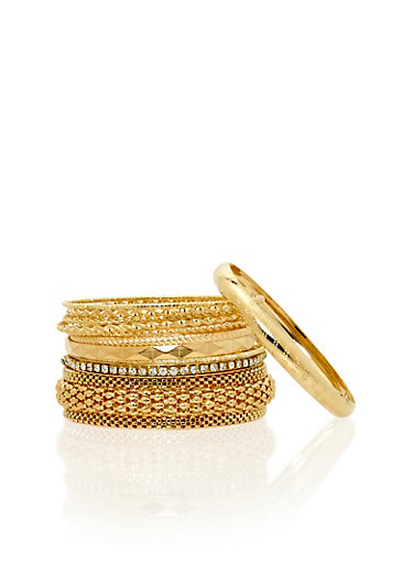Set of 11 Assorted Textuered Bangles,GOLD,large