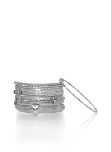 Set of 11 Assorted Bangles with Charms,SILVER,large