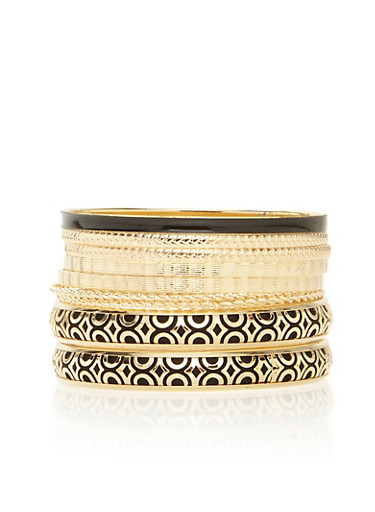 Plus Size Two Tone Assorted Bangle Set,BLACK,large