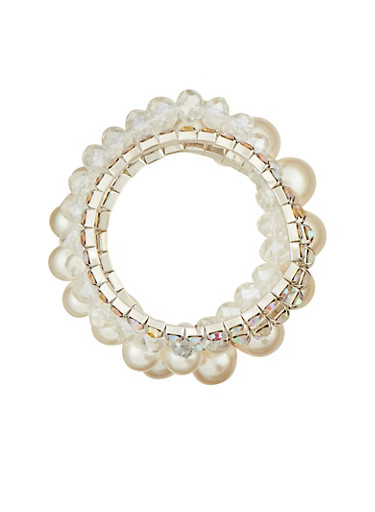 String Pearl and Rhinestone Bracelet Set,SILVER,large