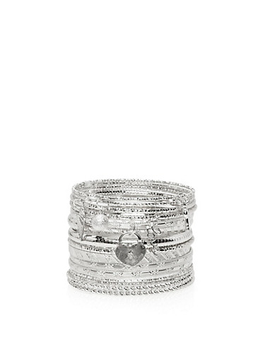 Multi Textured Bangles Set with Charms,SILVER,large