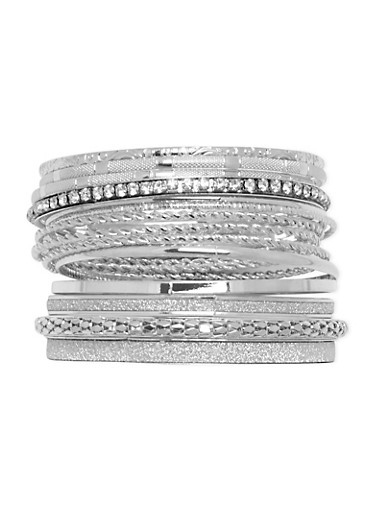 Assorted Textured Bangle Set,SILVER,large