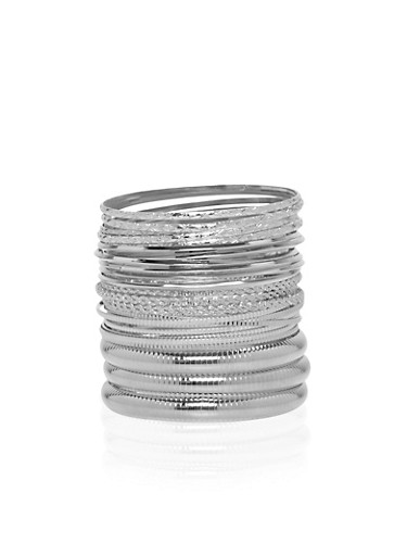 Set of 25 Etched Bangles,SILVER,large