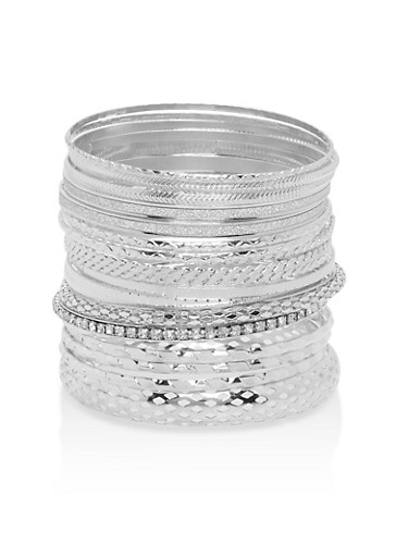 Plus Size Multi Textured Rhinestone Bangles,SILVER,large