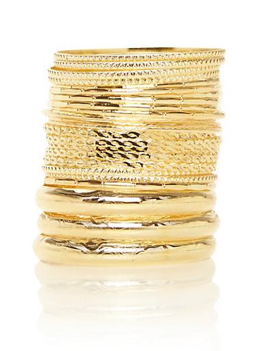 Plus Size Multi Textured Bangle Set,GOLD,large