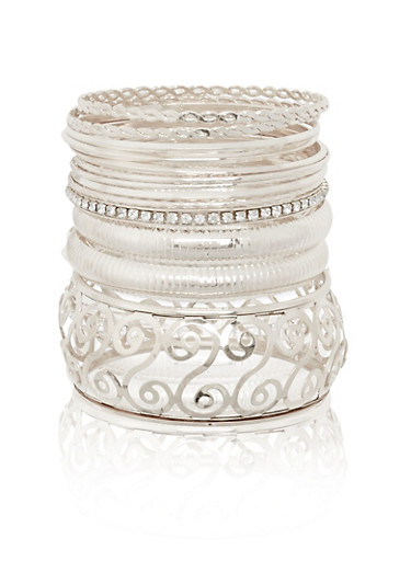 Plus Size Set of 13 Multi Textured and Rhinestone Bangles,SILVER,large