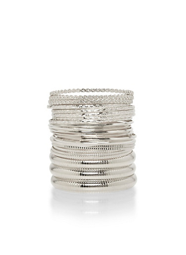 Plus Size Set of 25 Multi Textured Bangles,SILVER,large