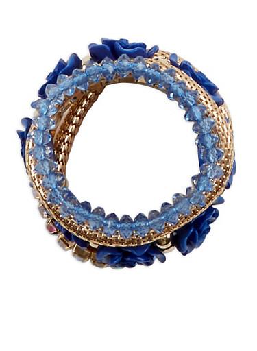 Plus Size Metallic Rhinestone Beaded Stretch Bracelets,NAVY,large