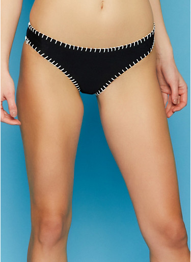 Hipster Bikini Bottoms with Contrast Crochet Trim,BLACK,large