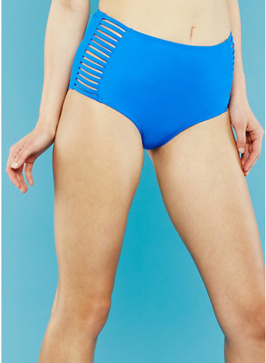 High Waisted Bikini Bottoms with Caged Sides,COBALT,large