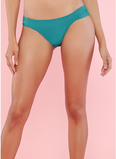Green Ruched Side Bikini Bottom,GREEN,large