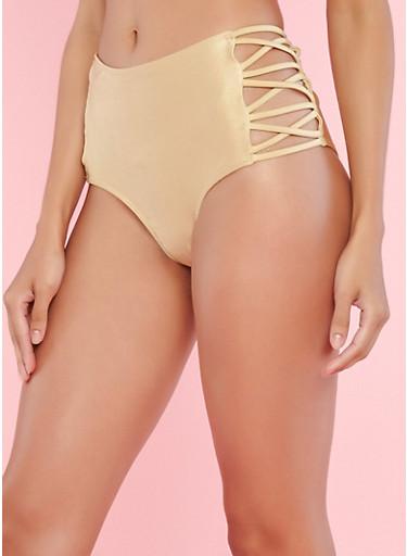 Gold High Waisted Caged Side Bikini Bottom,NUDE,large