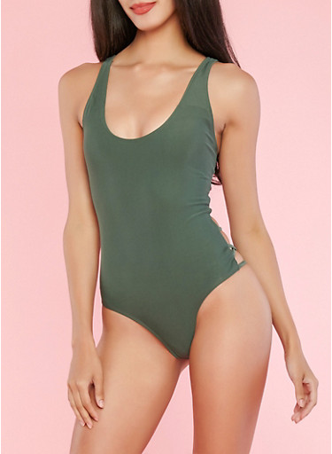 Olive Caged Side One Piece Swimsuit,OLIVE,large