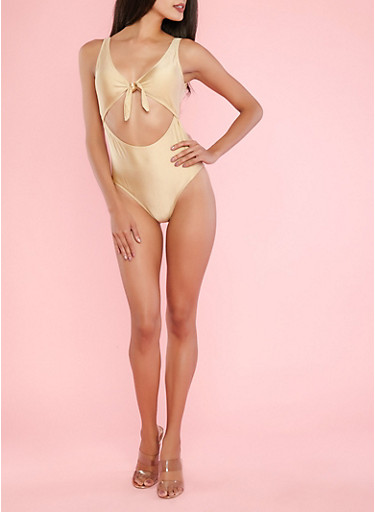 Gold Tie Front One Piece Bathing Suit,NUDE,large