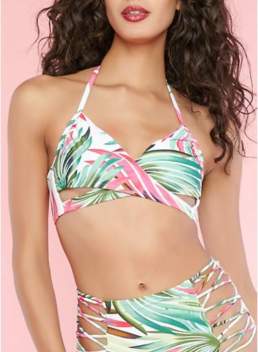 Leaf Print Caged Back Bikini Top,GREEN,large