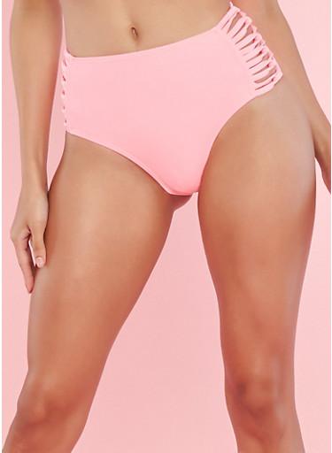 Coral Caged High Waisted Bikini Bottom,CORAL,large