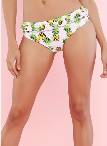 Ruffled Pineapple Print Bikini Bottoms,PINK,large