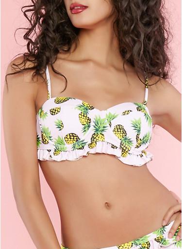 Ruffled Pineapple Print Bikini Top,PINK,large