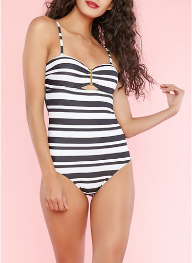 Striped One Piece Swimsuit,BLACK/WHITE,large