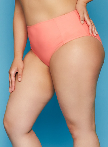 Plus Size High Waisted Coral Bikini Bottoms,CORAL,large