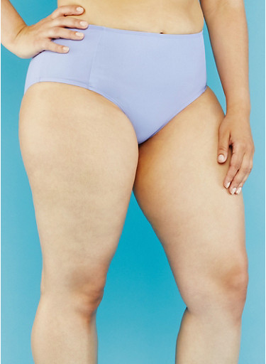 Plus Size High Waisted Bikini Bottoms,VIOLET,large